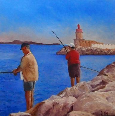 Pêcheurs à Sanary 30x30